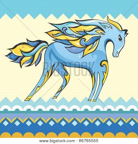 Creative Blue Horse Illustration