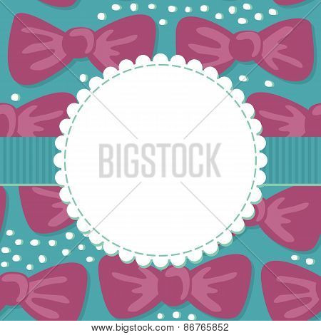 pink bows on turquoise card with blank label and ribbon