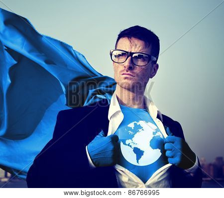 Superhero Businessman Earth Logo Concept