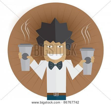Waiter carrying two cups of coffee Vector illustration