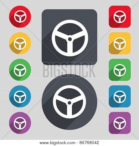 Steering Wheel Icon Sign. A Set Of 12 Colored Buttons And A Long Shadow