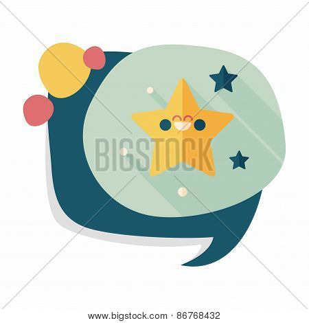 Space Star Flat Icon With Long Shadow,eps10
