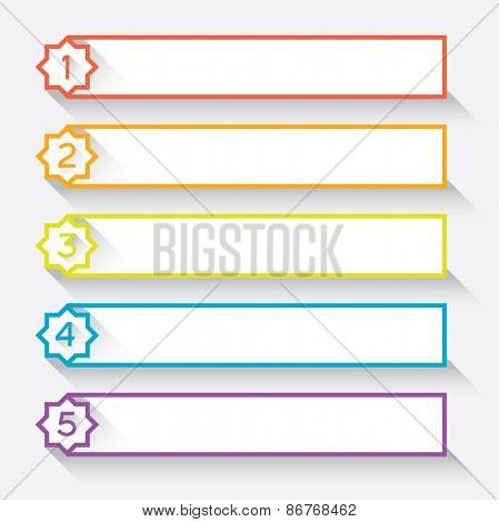 Set of 5 numbered paper style headers with star Vector illustration