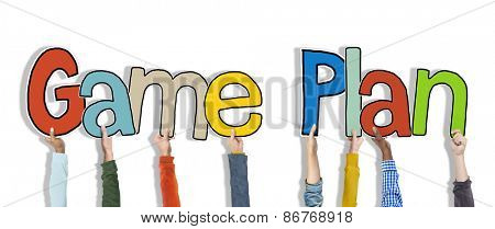 Diverse Hands Holding the Words Game Plan