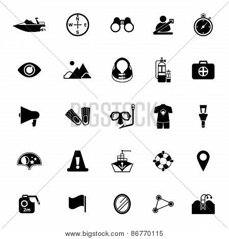 Waterway Related Icons On White Background