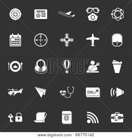 Air Transport Related Icons On Gray Background