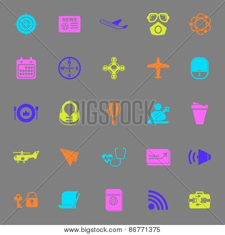 Air Transport Related Color Icons On Gray Background