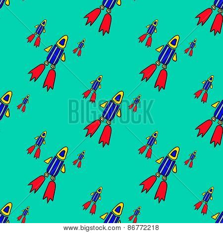 eamless pattern with space rockets flying