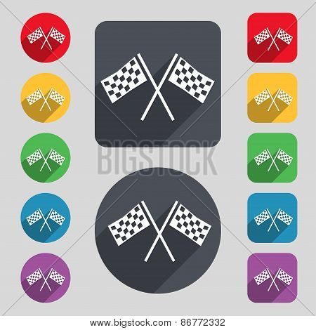 Race Flag Finish Icon Sign. A Set Of 12 Colored Buttons And A Long Shadow