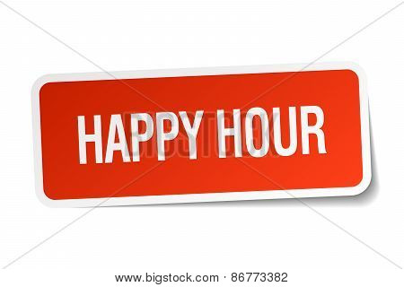 Happy Hour Red Square Sticker Isolated On White