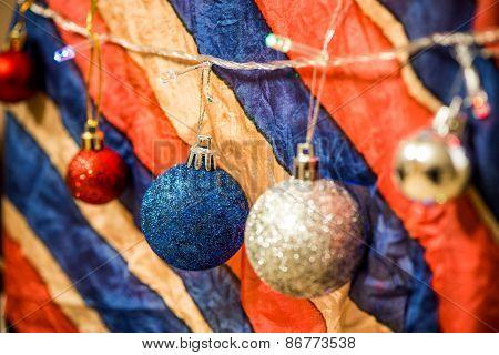 Christmas Decoration On Multicolour Background
