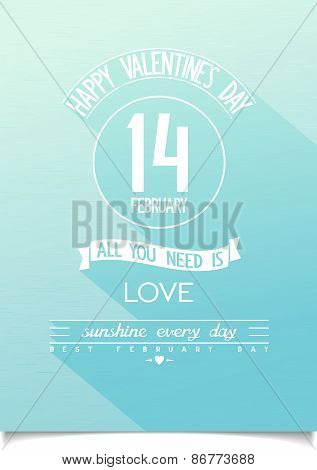 Valentine's day stylised blue sky background