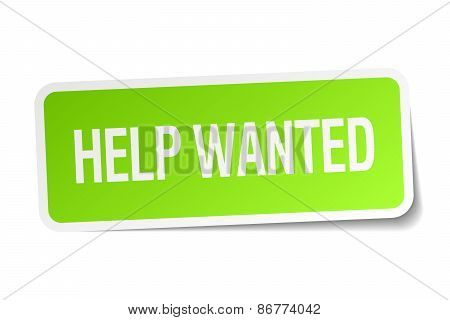 Help Wanted Green Square Sticker On White Background