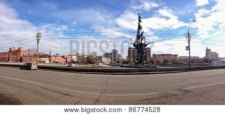 Moscow, Russia - March 24, 2015: Panoramic View Of Embankment Moscow River With The Peter The Great