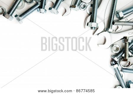 Metalwork. Metal fixture, spanner on a white background.