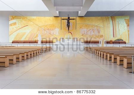 Sanctuary of Fatima, Portugal, March 07, 2015 - Interior of the modern Minor Basilica of Most Holy Trinity. Fatima is one of the most important pilgrimage locations for the Catholics in the world