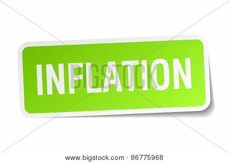 Inflation Green Square Sticker On White Background