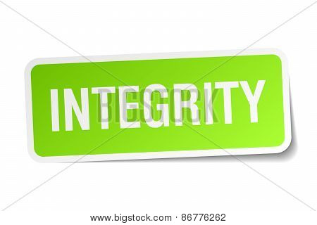 Integrity Green Square Sticker On White Background