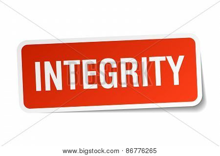 Integrity Red Square Sticker Isolated On White