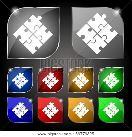 Puzzle Piece Icon Sign. Set Of Ten Colorful Buttons With Glare. Vector