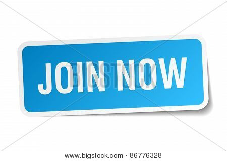 Join Now Blue Square Sticker Isolated On White