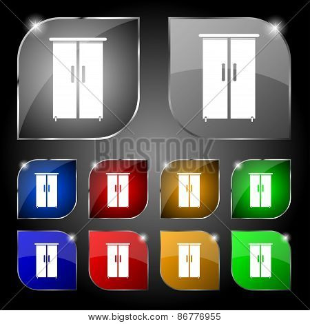 Cupboard Icon Sign. Set Of Ten Colorful Buttons With Glare. Vector