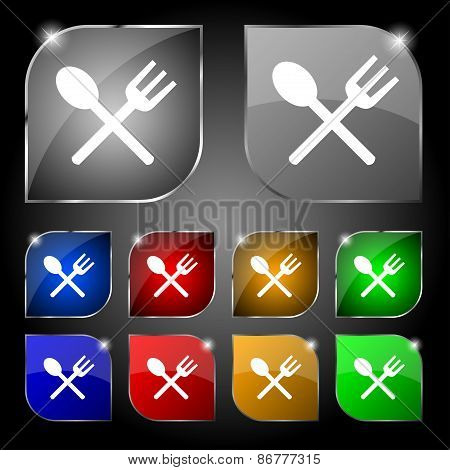 Fork And Spoon Crosswise, Cutlery, Eat Icon Sign. Set Of Ten Colorful Buttons With Glare. Vector