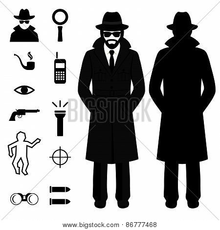 detective cartoon man,