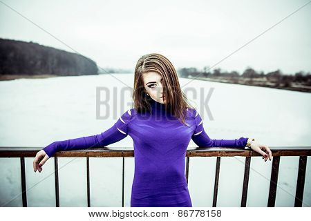 Young Pretty Sexy Girl In Dress Outdoor