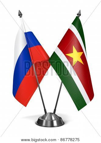 Russia and Suriname - Miniature Flags.