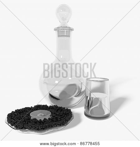 Carafe of Vodka with Caviar