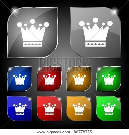 Crown Icon Sign. Set Of Ten Colorful Buttons With Glare. Vector