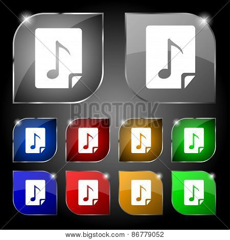 Audio, Mp3 File Icon Sign. Set Of Ten Colorful Buttons With Glare. Vector