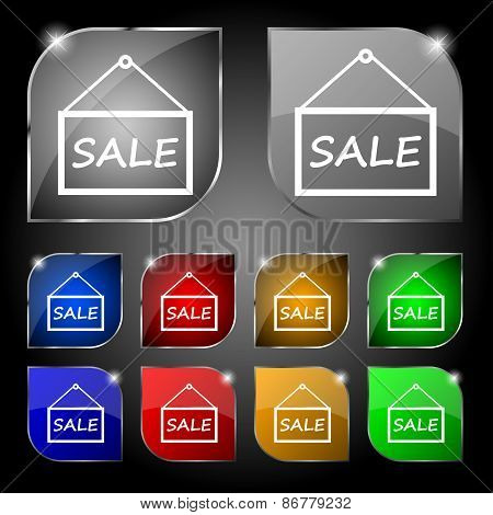 Sale Tag Icon Sign. Set Of Ten Colorful Buttons With Glare. Vector