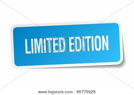 Limited Edition Blue Square Sticker Isolated On White