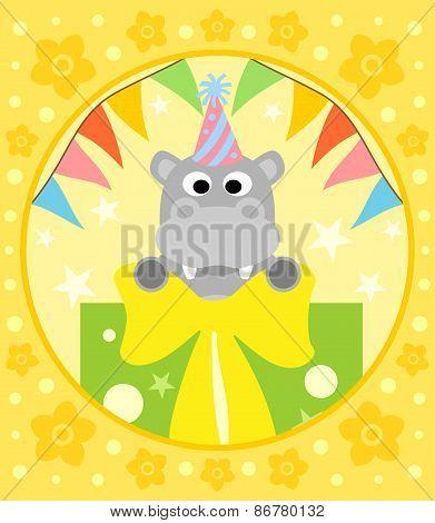 Cartoon  background  with hippopotamus