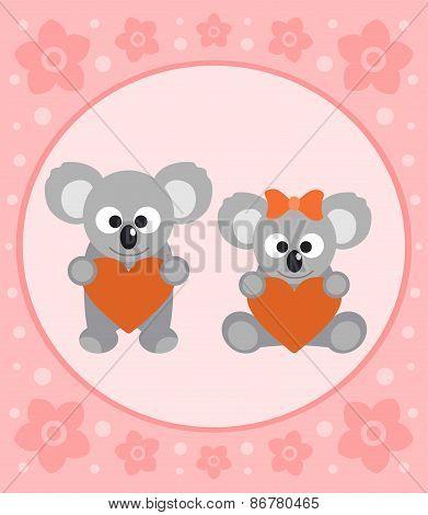 Background card with koalas cartoon