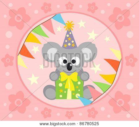 Cartoon  background  with koala