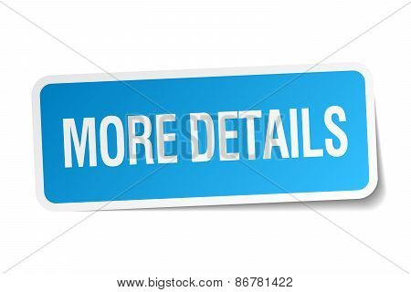 More Details Blue Square Sticker Isolated On White