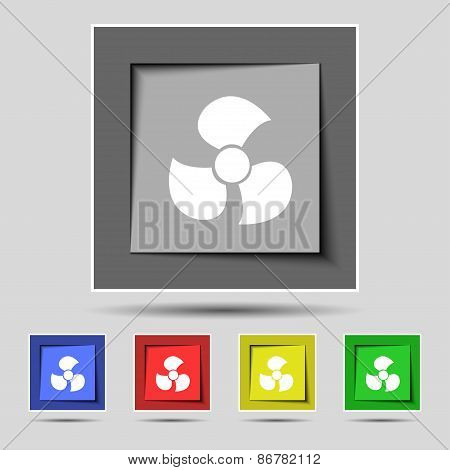 Fans, Propeller Icon Sign On The Original Five Colored Buttons. Vector