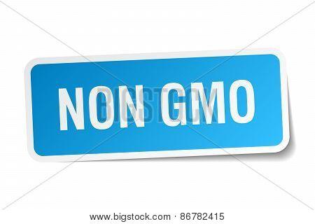 Non Gmo Blue Square Sticker Isolated On White