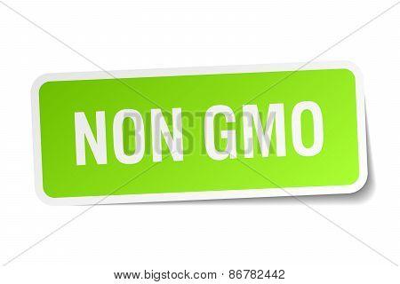 Non Gmo Green Square Sticker On White Background