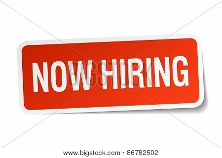 Now Hiring Red Square Sticker Isolated On White