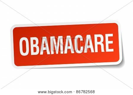 Obamacare Red Square Sticker Isolated On White