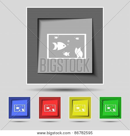 Aquarium, Fish In Water Icon Sign On The Original Five Colored Buttons. Vector