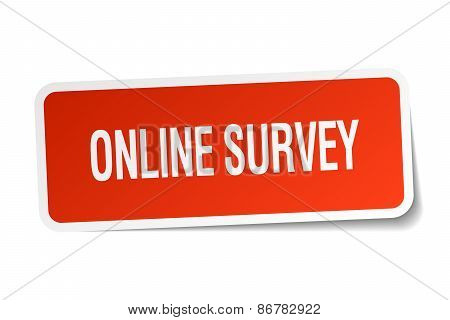 Online Survey Red Square Sticker Isolated On White