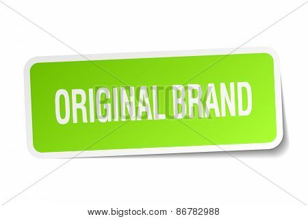 Original Brand Green Square Sticker On White Background