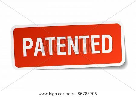 Patented Red Square Sticker Isolated On White