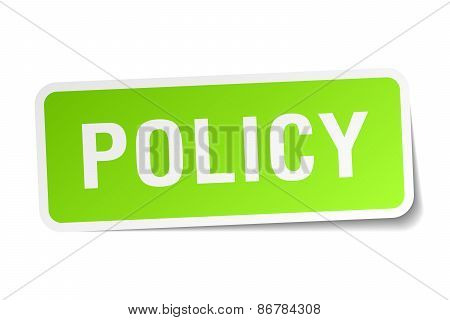 Policy Green Square Sticker On White Background