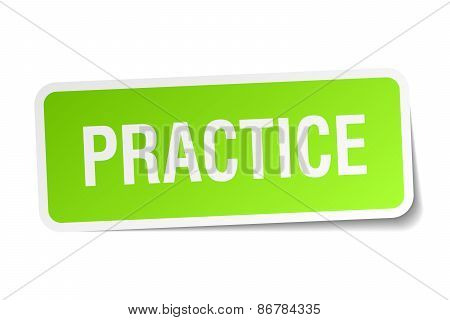 Practice Green Square Sticker On White Background